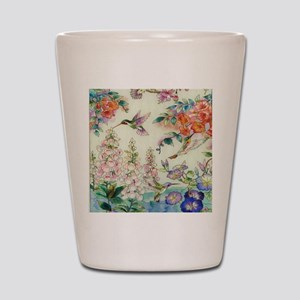 hummingbirds and flowers Shot Glass